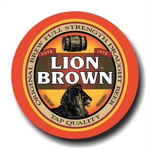 Placa Lion Brown Beer Metalizado